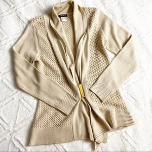 Venus Gold Clasp Cardigan Open Front Knit